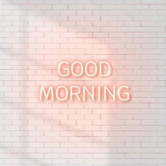 벽돌 벽에 네온 좋은 아침 단어