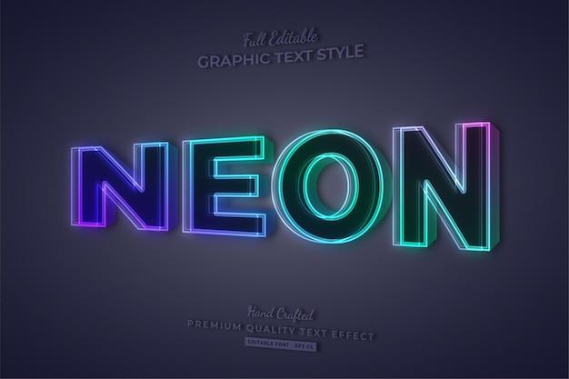 네온 그라디언트 3d 편집 가능한 텍스트 효과 글꼴 스타일
