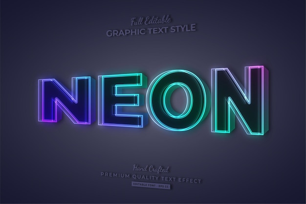 Neon gradient 3d editable text effect font style