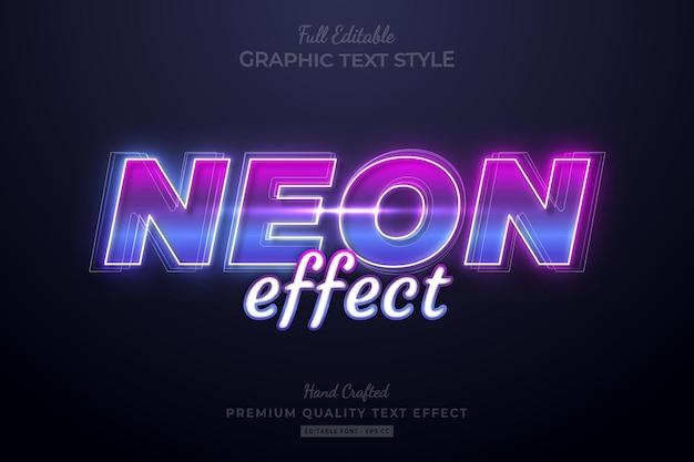 Neon gradient editable premium text effect font style