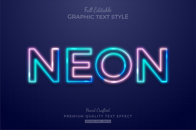 Neon gradient editable text effect font style