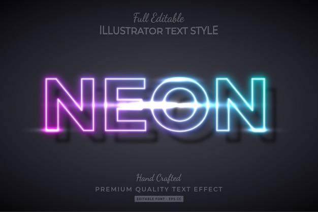 Эффект редактируемого текста с неоновым градиентом премиум