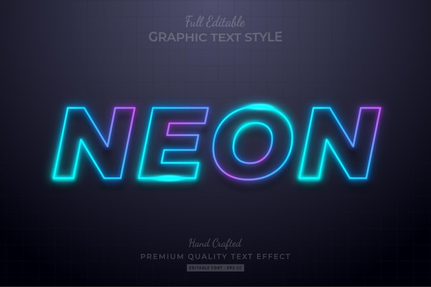 Стиль шрифта с редактируемым текстовым эффектом neon gradient glow