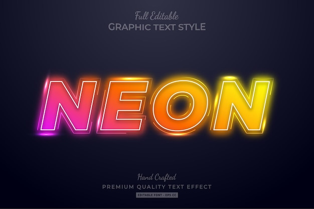 Neon gradient glow editable text effect