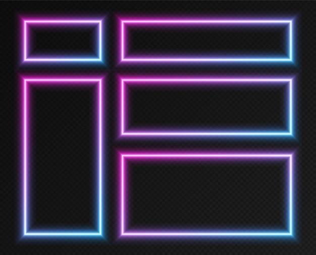 ネオングラデーションの長方形のフレームセット、暗い背景に分離されたピンクブルーの輝く境界線のコレクション。カラフルなナイトバナー、明るく照らされた形、サイバーパンクスタイルの光の効果。