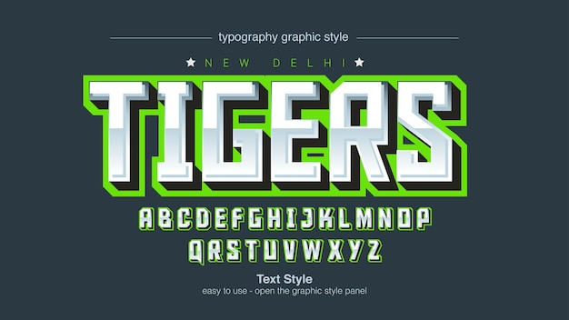 Neon green 3d silver gaming sports typography