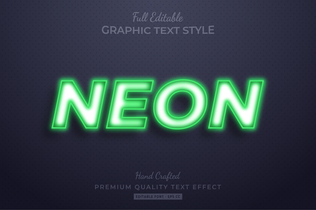 Неоново-зеленый редактируемый эффект стиля 3d-текста премиум