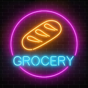 Neon grocery store glowing sign on a brick wall background. food shop signboard with bread in a circle frame.
