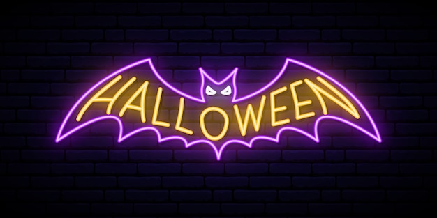 Neon halloween bat sign.