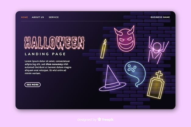 Neon halloween landing page design
