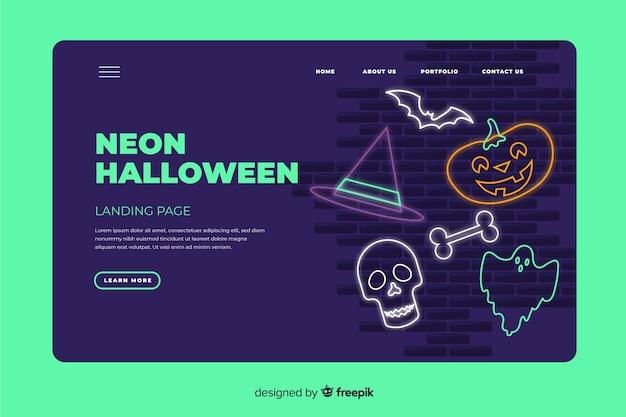 Neon halloween landing page template