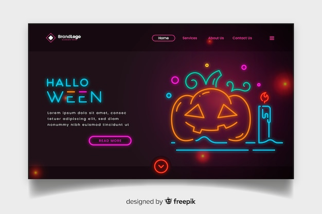 Neon halloween landing page with pumpkin