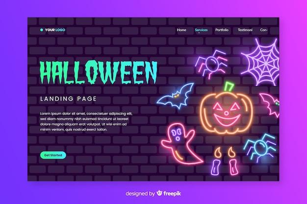 Neon halloween landing page