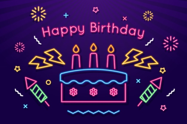 Неоновый фон с днем рождения