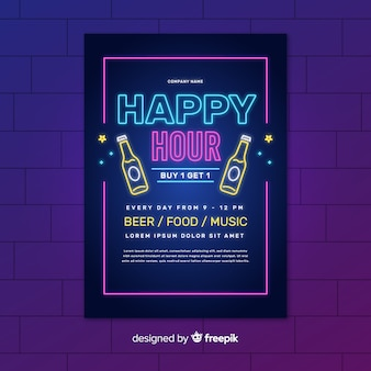 Neon happy hour lights poster with bottles of beer