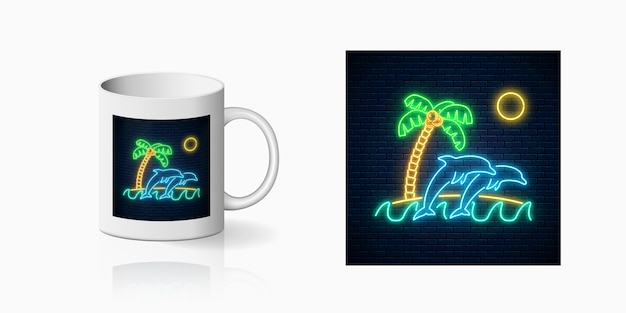 Neon happy summer print with jumping dolphins, palm, sun and island in ocean for cup design. shiny summertime design