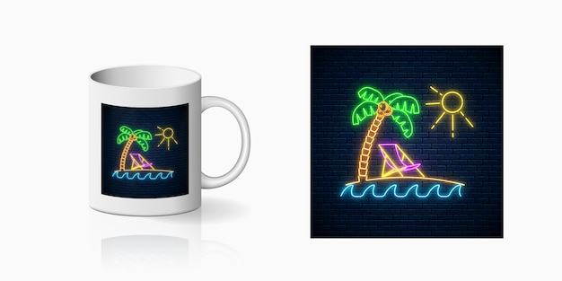 Neon happy summer print with palm, sun, chaise-longue and ocean for cup design. shiny summertime design on mug