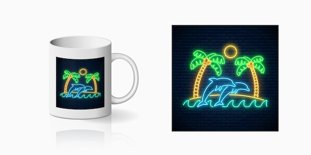 Neon happy summer print with palms, sun, island and jumping dolphins in ocean for cup design. shiny summertime design