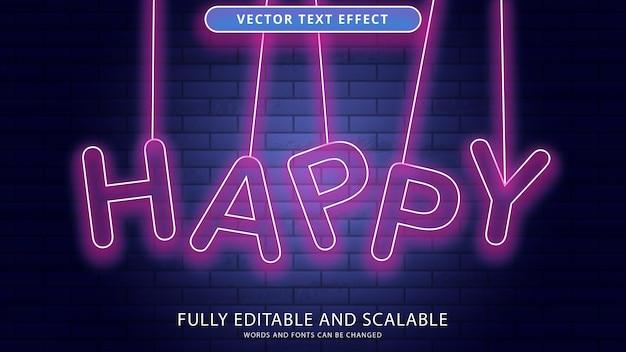 Neon happy text effect editable eps file