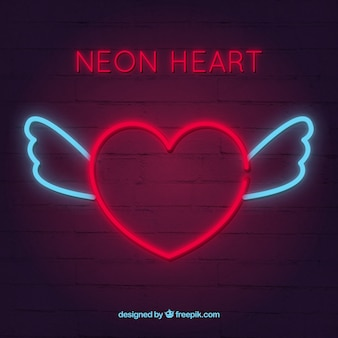 Neon heart background with wings