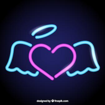 Неоновый фон сердце с крыльями