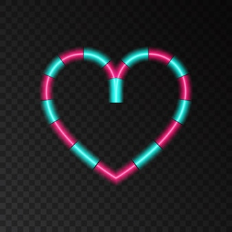 해피 발렌타인 데이 배너 인사말 카드에 대한 롤리팝 사랑 조명 효과 모양의 네온 하트
