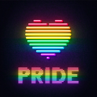 Neon heart and pride inscription in the colors of the lgbt community