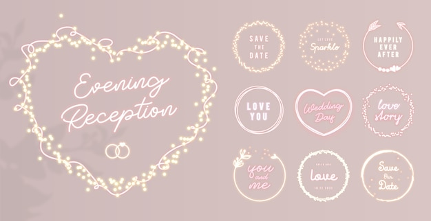 Neon heart shape frame with light sparkles and round shining labels for wedding decoration