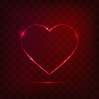 Neon heart sign, love concept