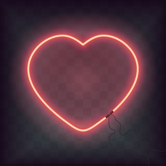 Neon heart sign on transparent background. retro bright heart for happy valentine day