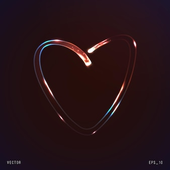 Neon heart symbol with moving particles of light vector illustration