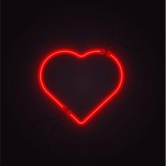 Neon heart vector glowing lamp