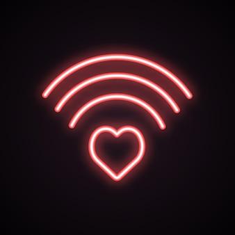 Иконка neon heart wi-fi