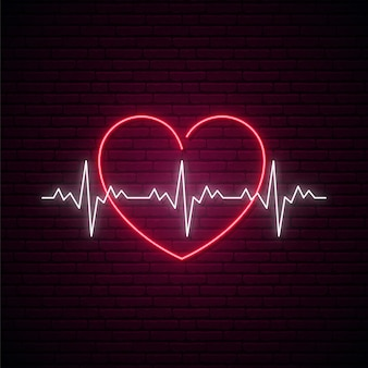 Neon heartbeat sign.