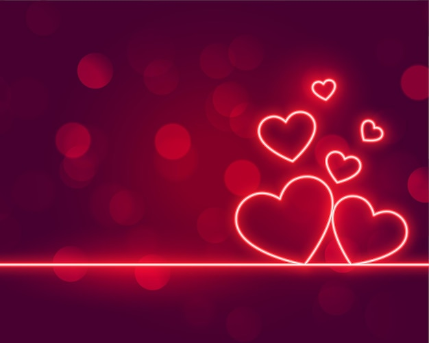 Neon hearts love valentines day design