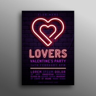 Neon hearts valentine's day poster template