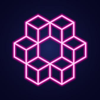 Neon hexagon on blue