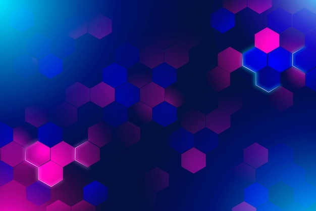 Neon hexagonal background