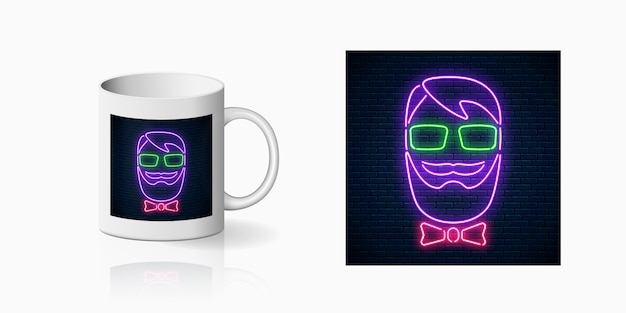 Neon hipster man print on ceramic mug mockup. man with beard, glasses and bow tie bright sign on coffee cup side.