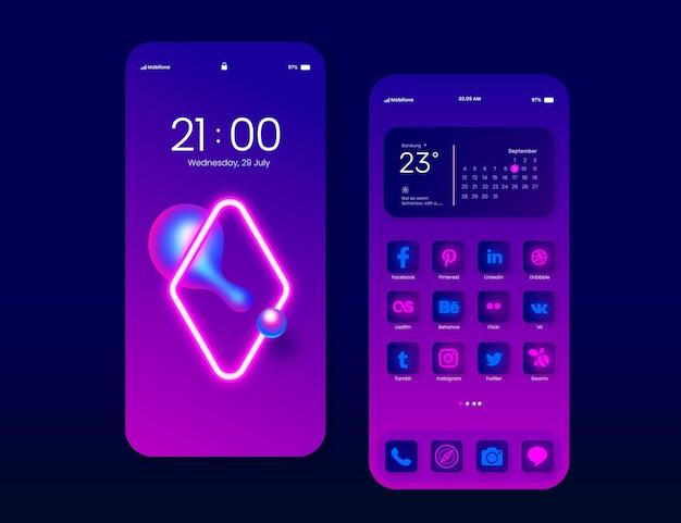 Interfaccia della schermata iniziale al neon