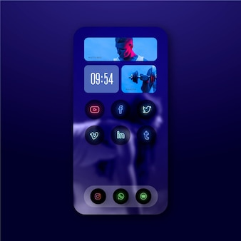 Neon home screen template for smartphone
