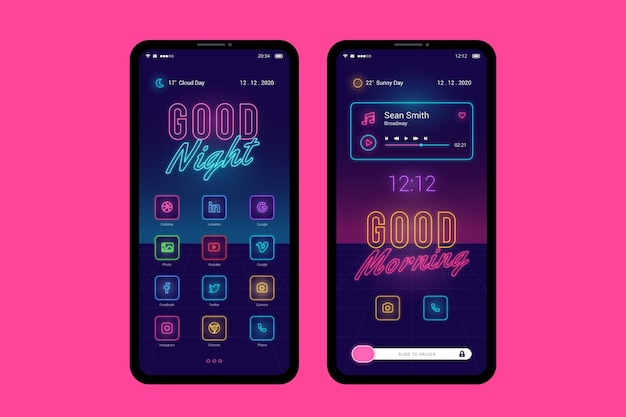 Neon home screen theme for smartphone