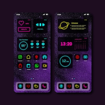 Neon home screen