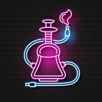 Neon hookah vector logo