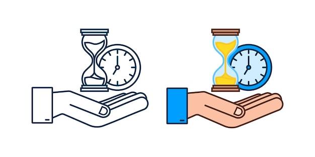 ネオン砂時計ハググラスとサンドグラスを持っている手非常に詳細