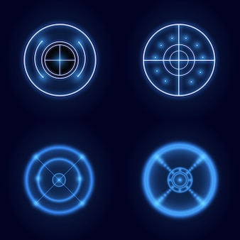 Neon hud futuristic element isolated on dark background. hi-tech user interface. abstract virtual target. illustration.