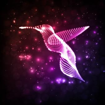 Неоновые колибри, абстрактные огни фоны