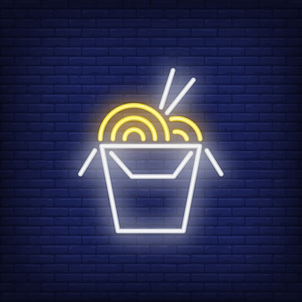 Neon icon of chinese food