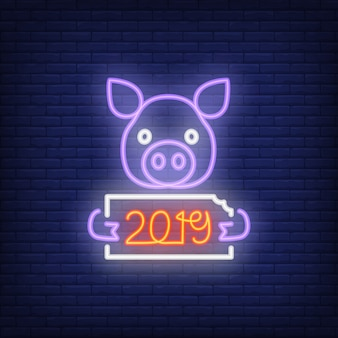 Neon icon of festive new year pig