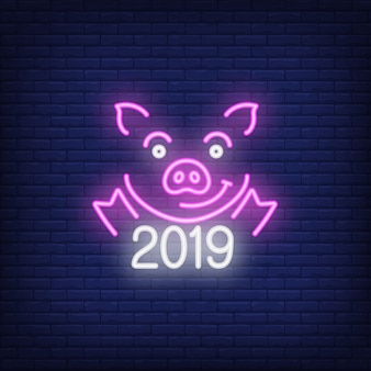 Neon icon of festive pig